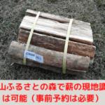 阿山ふるさとの森で薪の現地調達は可能(事前予約は必要)